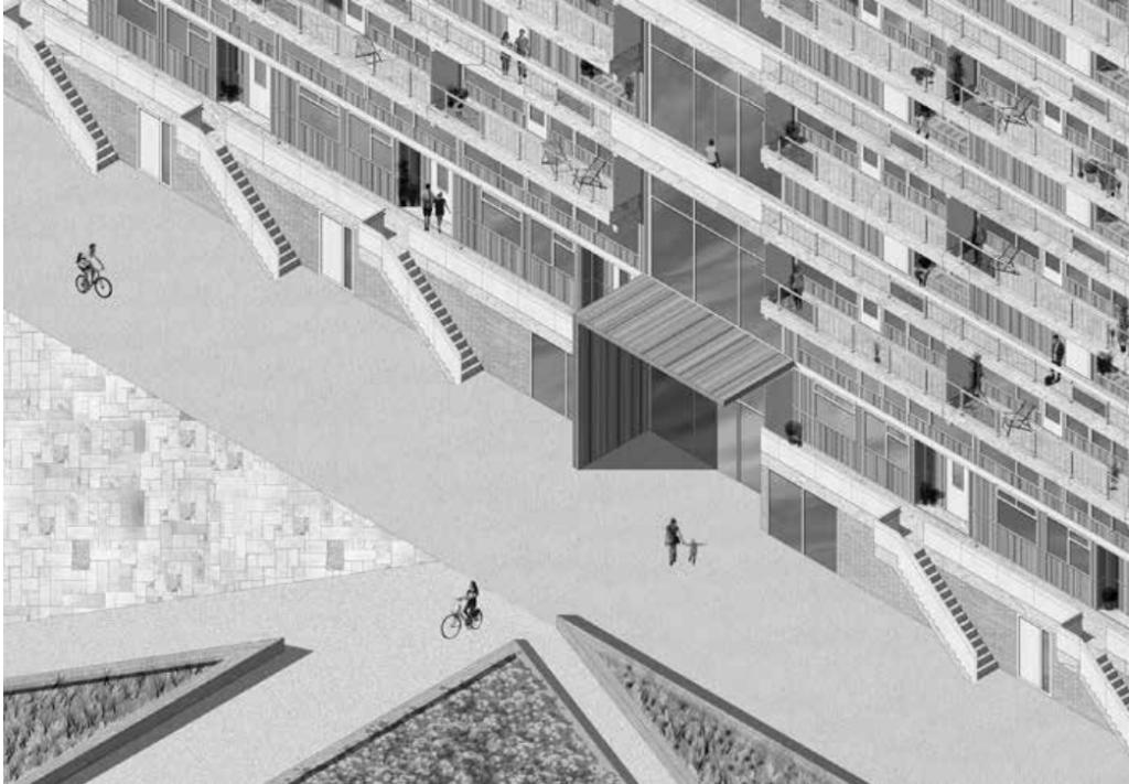 Studie hergebruik Zoetermeersegalerijflats: nieuwe entreesituatie (Ontwerp en visualisatie: Eva Fuehrer, TU Delft)
