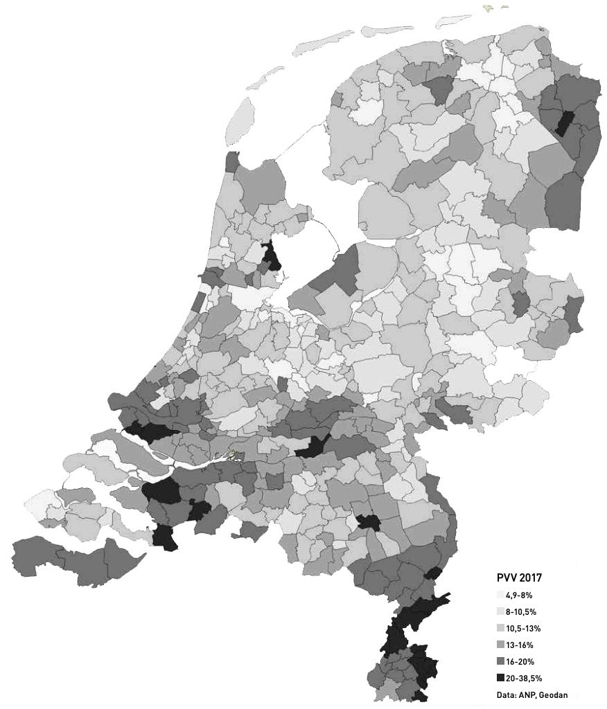Figuur 1 Aanhang van de PVV bij de Tweede Kamerverkiezingen van 2017